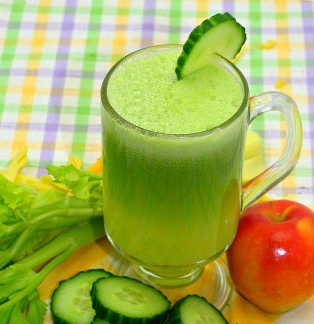 Сок из сельдерея, огурца, имбиря и яблока для сильных волос и гладкой кожи